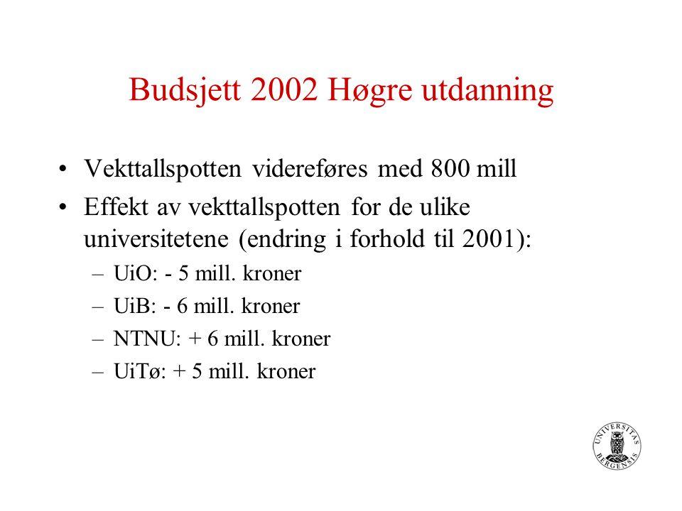 Budsjett 2002 Høgre utdanning Vekttallspotten videreføres med 800 mill Effekt av vekttallspotten for de ulike universitetene (endring i forhold til 2001): –UiO: - 5 mill.