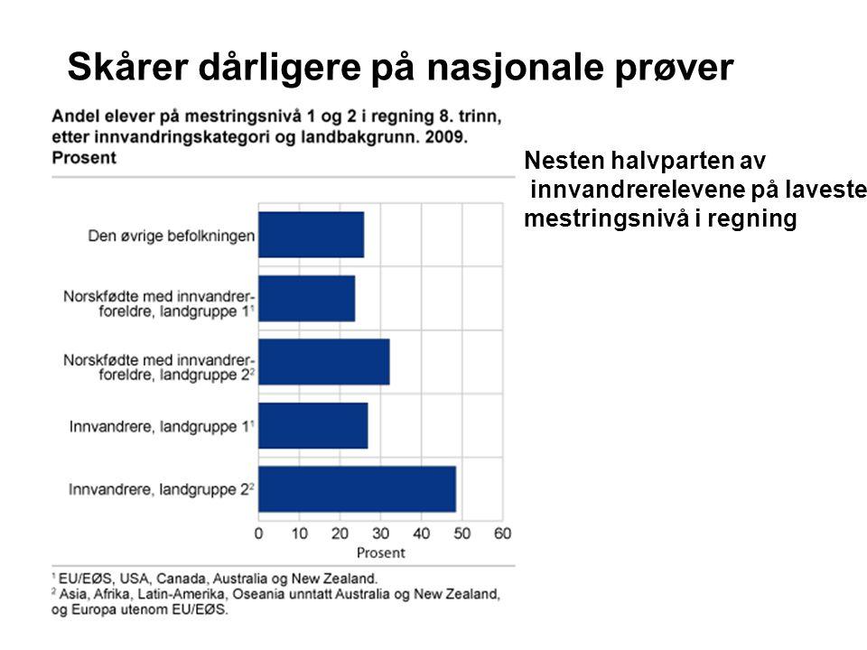 Skårer dårligere på nasjonale prøver Nesten halvparten av innvandrerelevene på laveste mestringsnivå i regning