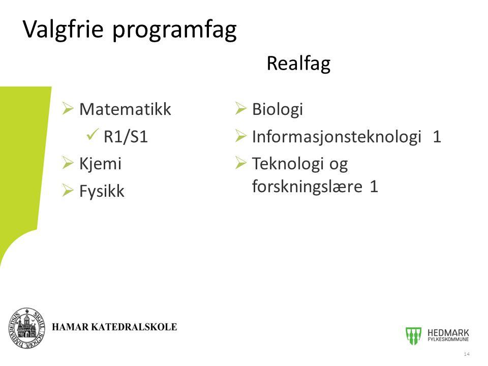 Valgfrie programfag Realfag  Matematikk R1/S1  Kjemi  Fysikk 14  Biologi  Informasjonsteknologi 1  Teknologi og forskningslære 1