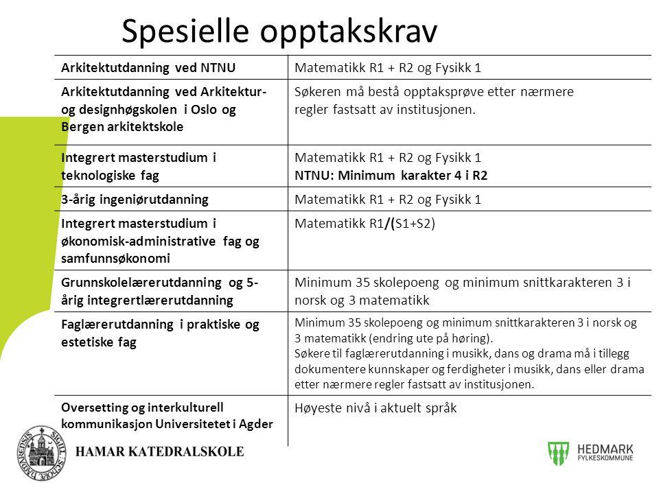 Arkitektutdanning ved NTNUMatematikk R1 + R2 og Fysikk 1 Arkitektutdanning ved Arkitektur- og designhøgskolen i Oslo og Bergen arkitektskole Søkeren må bestå opptaksprøve etter nærmere regler fastsatt av institusjonen.