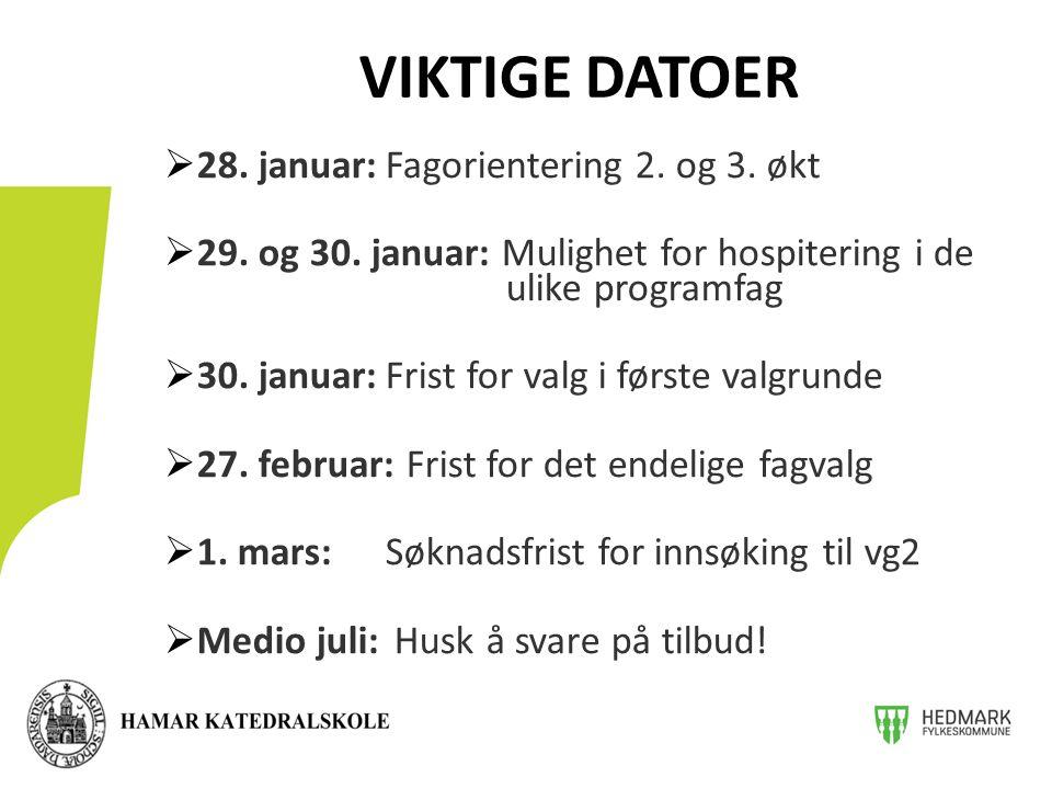 28. januar:Fagorientering 2. og 3. økt  29. og 30.