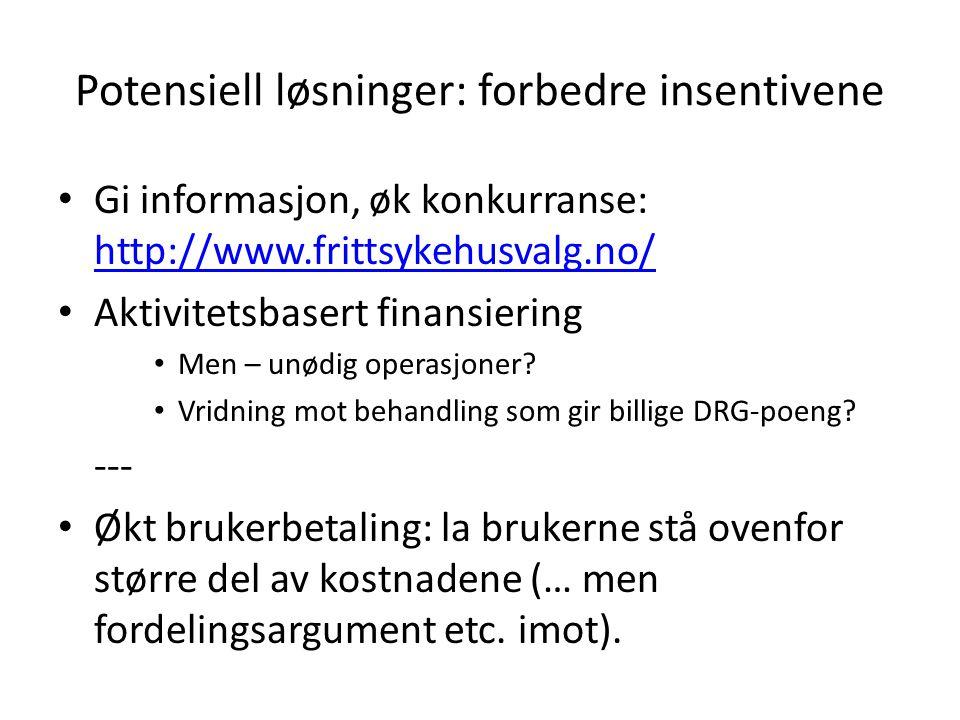 Potensiell løsninger: forbedre insentivene Gi informasjon, øk konkurranse: http://www.frittsykehusvalg.no/ http://www.frittsykehusvalg.no/ Aktivitetsbasert finansiering Men – unødig operasjoner.