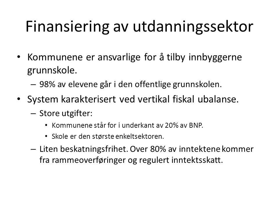 Finansiering av utdanningssektor Resultat: Svake bånd mellom kvalitet på offentlig tjenesteproduksjon og kommunale inntekter.