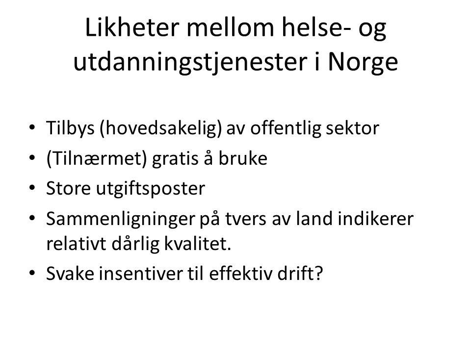 Likheter mellom helse- og utdanningstjenester i Norge Tilbys (hovedsakelig) av offentlig sektor (Tilnærmet) gratis å bruke Store utgiftsposter Sammenligninger på tvers av land indikerer relativt dårlig kvalitet.