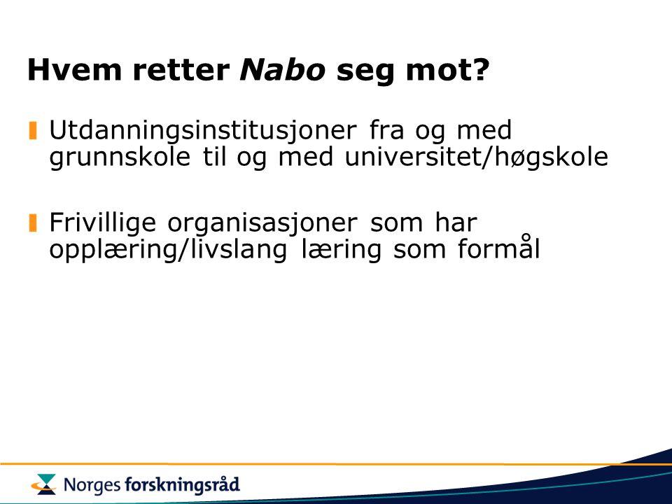 Hvem retter Nabo seg mot? Utdanningsinstitusjoner fra og med grunnskole til og med universitet/høgskole Frivillige organisasjoner som har opplæring/li
