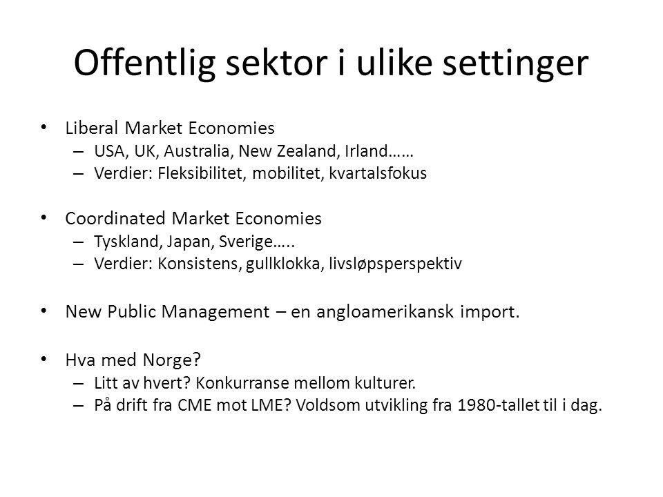 Offentlig sektor i ulike settinger Liberal Market Economies – USA, UK, Australia, New Zealand, Irland…… – Verdier: Fleksibilitet, mobilitet, kvartalsfokus Coordinated Market Economies – Tyskland, Japan, Sverige…..