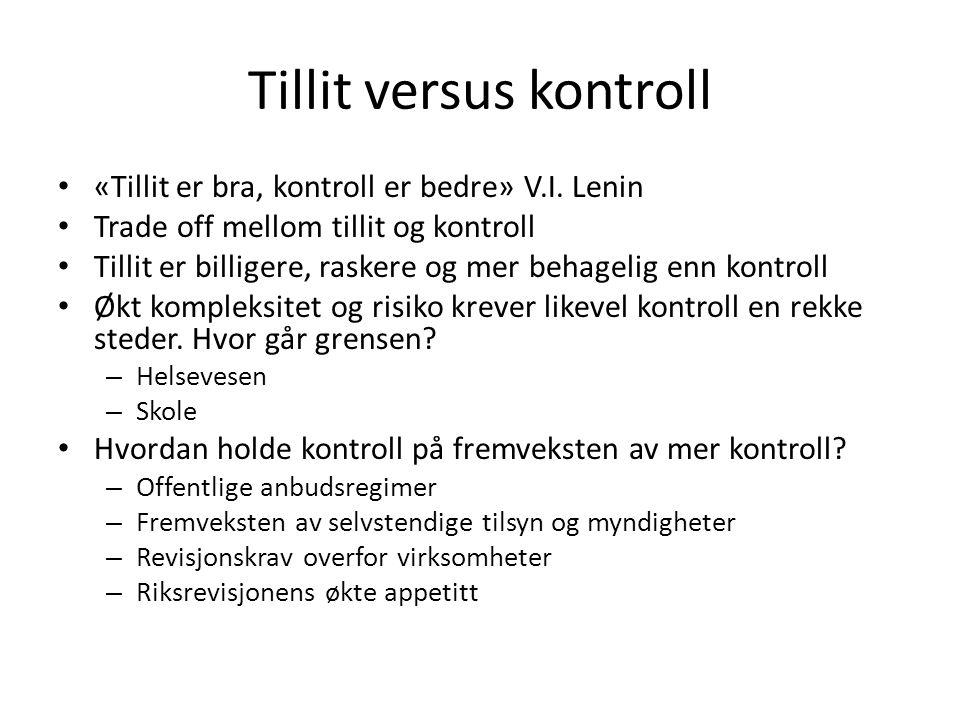 Tillit versus kontroll «Tillit er bra, kontroll er bedre» V.I.