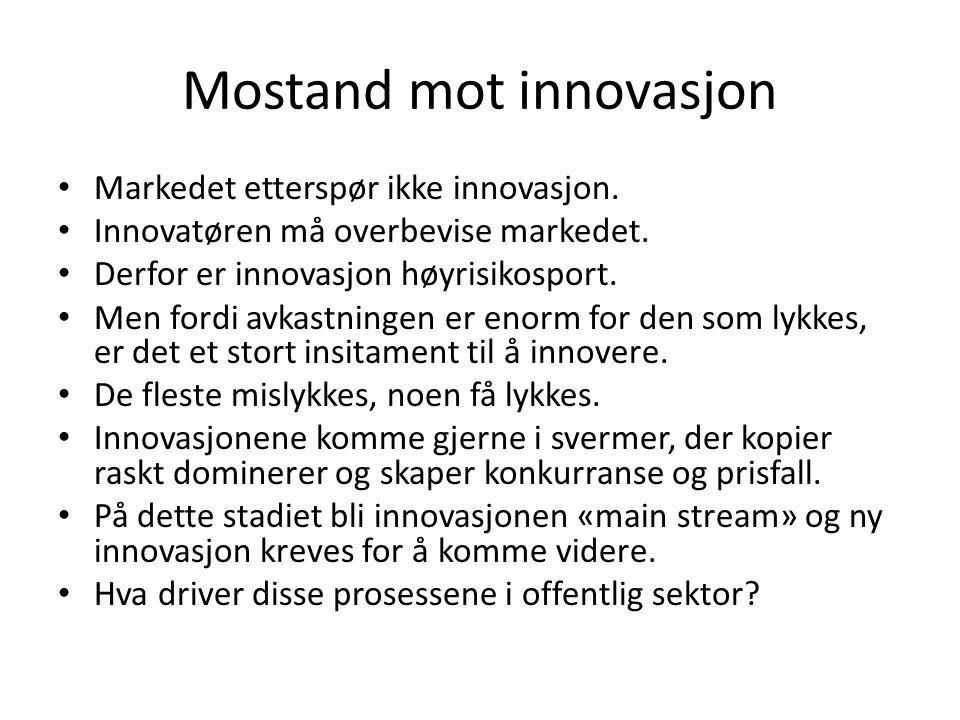 Mostand mot innovasjon Markedet etterspør ikke innovasjon.