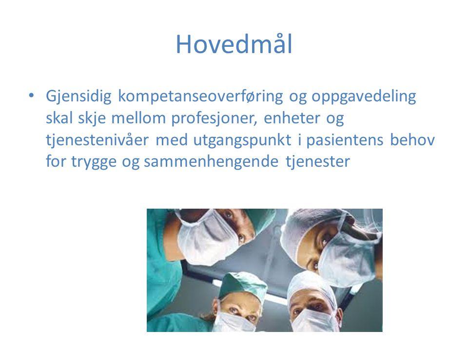 Hovedmål Gjensidig kompetanseoverføring og oppgavedeling skal skje mellom profesjoner, enheter og tjenestenivåer med utgangspunkt i pasientens behov f