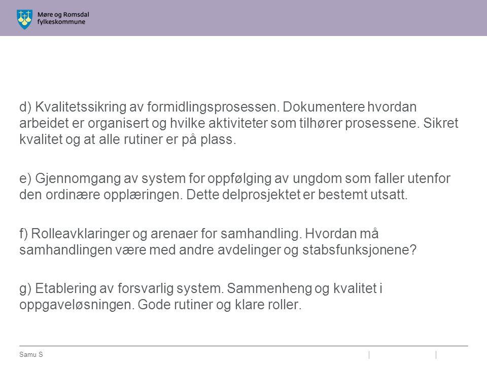 d) Kvalitetssikring av formidlingsprosessen. Dokumentere hvordan arbeidet er organisert og hvilke aktiviteter som tilhører prosessene. Sikret kvalitet