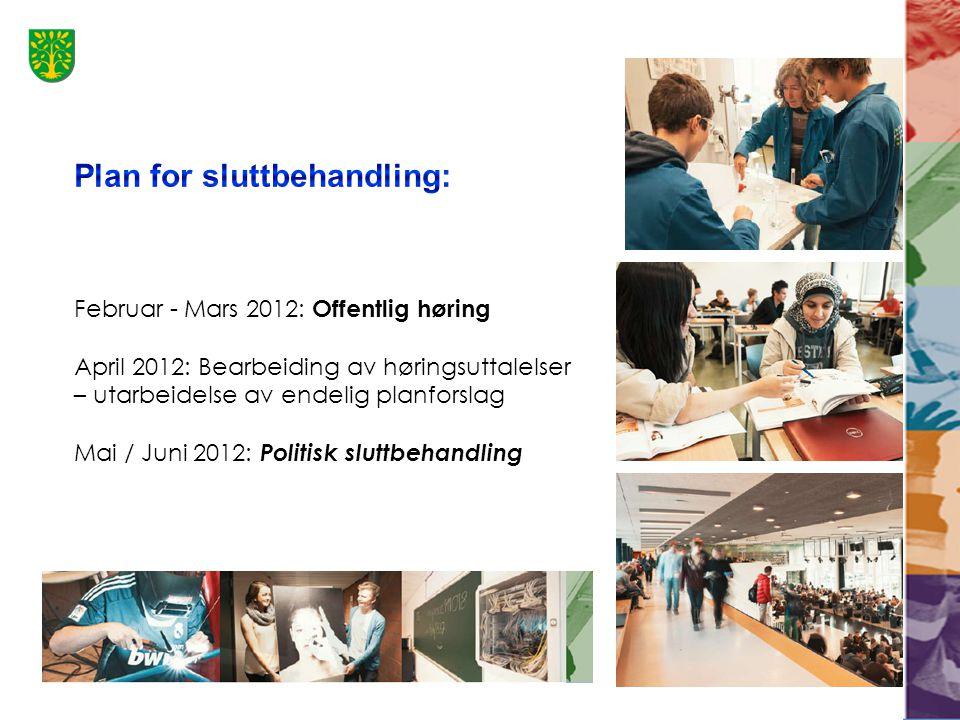 Februar - Mars 2012: Offentlig høring April 2012: Bearbeiding av høringsuttalelser – utarbeidelse av endelig planforslag Mai / Juni 2012: Politisk sluttbehandling