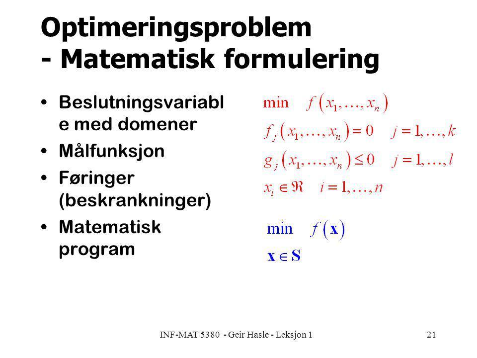 INF-MAT 5380 - Geir Hasle - Leksjon 121 Optimeringsproblem - Matematisk formulering Beslutningsvariabl e med domener Målfunksjon Føringer (beskrankninger) Matematisk program