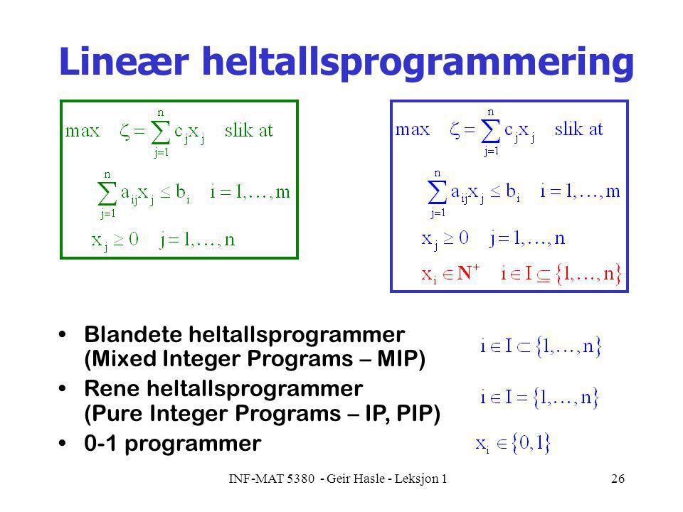 INF-MAT 5380 - Geir Hasle - Leksjon 126 Lineær heltallsprogrammering Blandete heltallsprogrammer (Mixed Integer Programs – MIP) Rene heltallsprogrammer (Pure Integer Programs – IP, PIP) 0-1 programmer