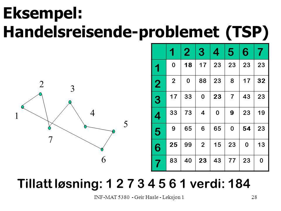 INF-MAT 5380 - Geir Hasle - Leksjon 128 Eksempel: Handelsreisende-problemet (TSP) Tillatt løsning: 1 2 7 3 4 5 6 1 verdi: 184 1234567 1 0181723 2 20882381732 3 173302374323 4 33734092319 5 9656 05423 6 259921523013 7 8340234377230 1 2 3 4 5 6 7