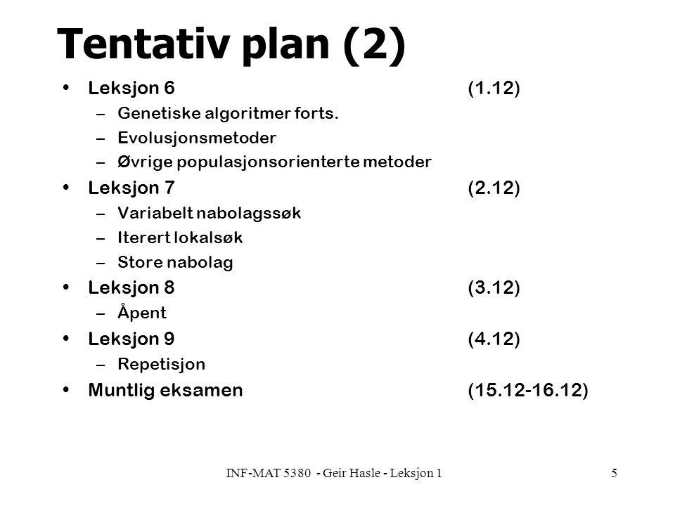 INF-MAT 5380 - Geir Hasle - Leksjon 15 Tentativ plan (2) Leksjon 6(1.12) –Genetiske algoritmer forts.