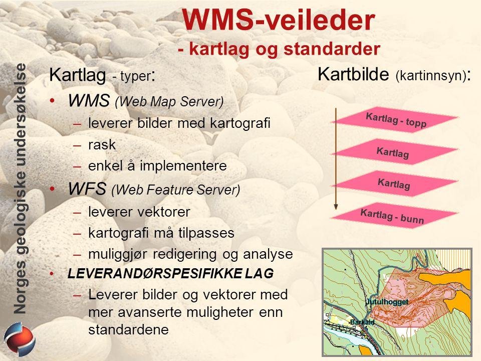 Norges geologiske undersøkelse WMS-veileder - kartlag og standarder Kartlag - typer : WMS (Web Map Server) –leverer bilder med kartografi –rask –enkel å implementere WFS (Web Feature Server) –leverer vektorer –kartografi må tilpasses –muliggjør redigering og analyse LEVERANDØRSPESIFIKKE LAG –Leverer bilder og vektorer med mer avanserte muligheter enn standardene Kartlag - bunn Kartlag Kartlag - topp Kartbilde (kartinnsyn) :