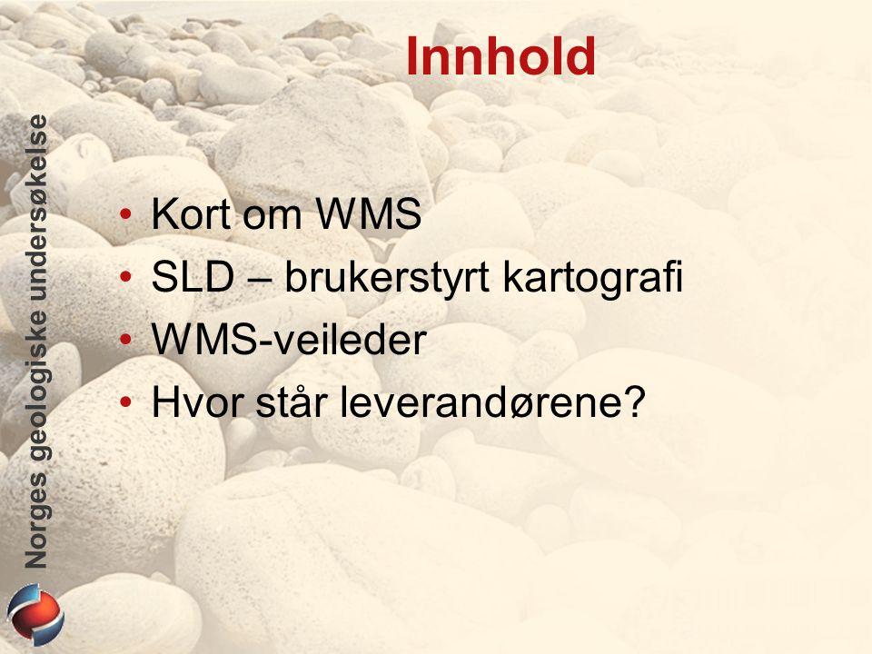 Norges geologiske undersøkelse Innhold Kort om WMS SLD – brukerstyrt kartografi WMS-veileder Hvor står leverandørene