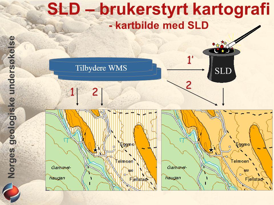 Norges geologiske undersøkelse SLD – brukerstyrt kartografi - SLD XML Volumiøst: 3½ ganger større enn AXL (ArcIMS) Avhengig av et XML-verktøy Et SLD-verktøy fra leverandørene savnes WMS-konnektoren fra ESRI tilbyr ikke lenger SLD.
