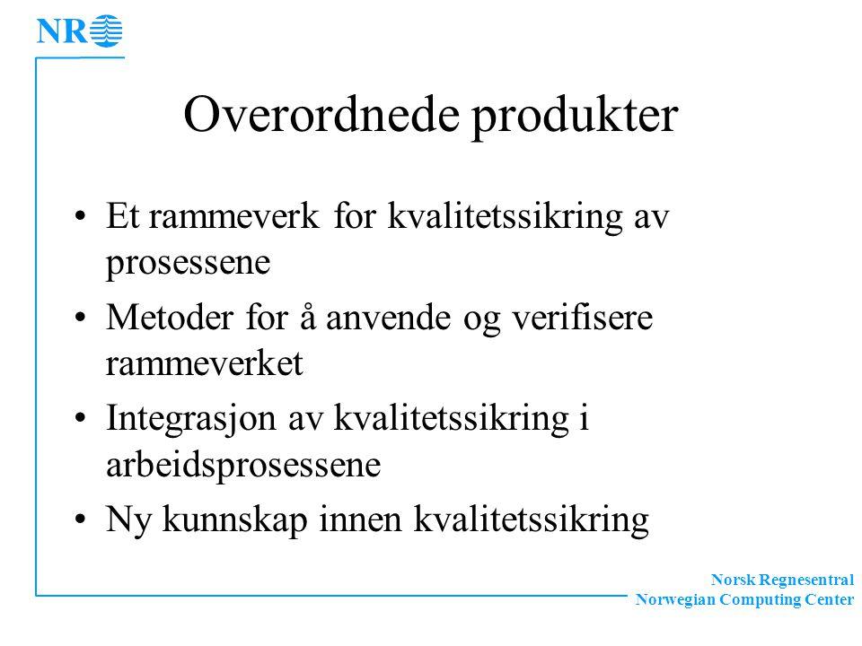 Norsk Regnesentral Norwegian Computing Center Overordnede produkter Et rammeverk for kvalitetssikring av prosessene Metoder for å anvende og verifisere rammeverket Integrasjon av kvalitetssikring i arbeidsprosessene Ny kunnskap innen kvalitetssikring