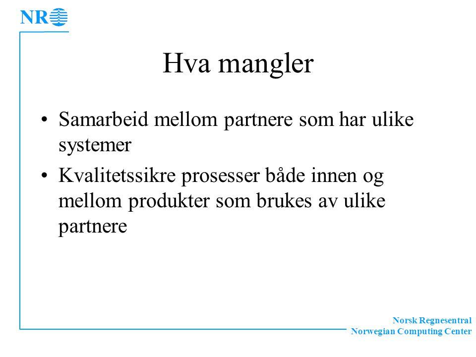 Norsk Regnesentral Norwegian Computing Center Hva mangler Samarbeid mellom partnere som har ulike systemer Kvalitetssikre prosesser både innen og mellom produkter som brukes av ulike partnere