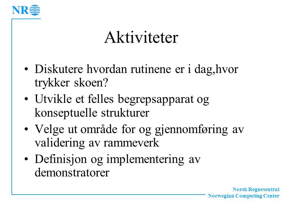Norsk Regnesentral Norwegian Computing Center Aktiviteter Diskutere hvordan rutinene er i dag,hvor trykker skoen.