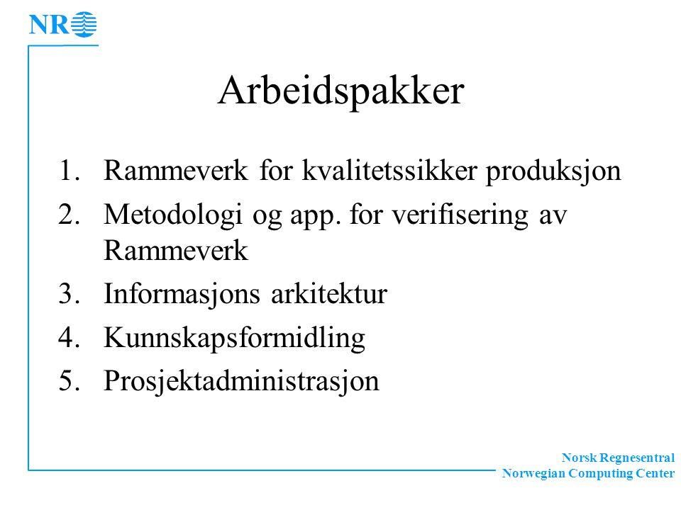 Norsk Regnesentral Norwegian Computing Center Arbeidspakker 1.Rammeverk for kvalitetssikker produksjon 2.Metodologi og app.