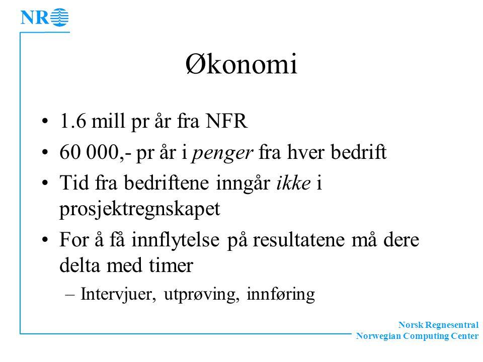 Norsk Regnesentral Norwegian Computing Center Økonomi 1.6 mill pr år fra NFR 60 000,- pr år i penger fra hver bedrift Tid fra bedriftene inngår ikke i prosjektregnskapet For å få innflytelse på resultatene må dere delta med timer –Intervjuer, utprøving, innføring