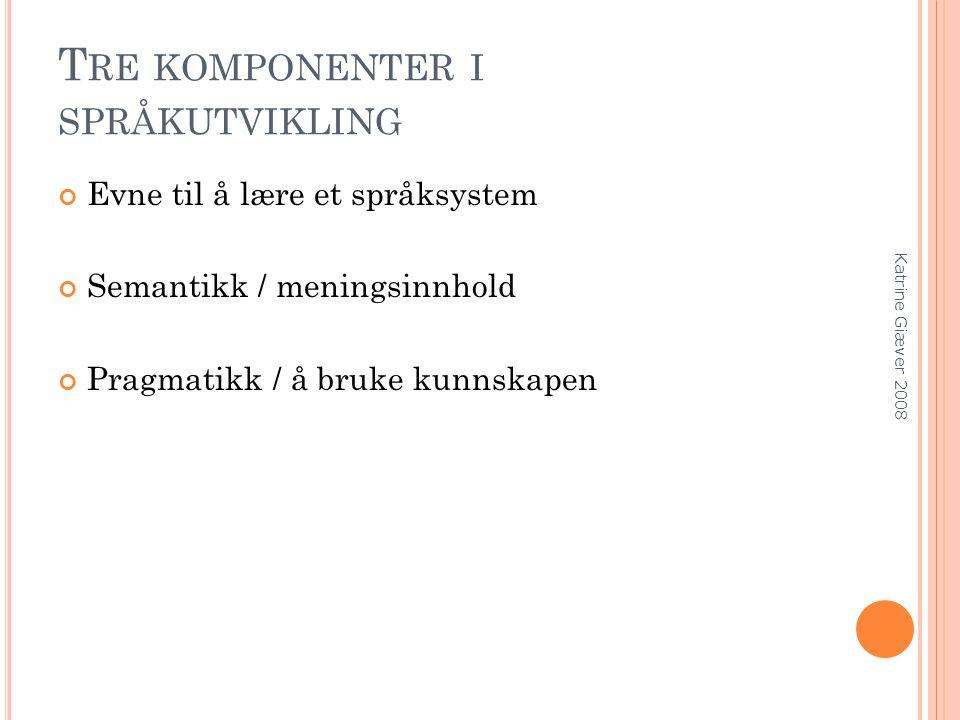 T RE KOMPONENTER I SPRÅKUTVIKLING Evne til å lære et språksystem Semantikk / meningsinnhold Pragmatikk / å bruke kunnskapen Katrine Giæver 2008