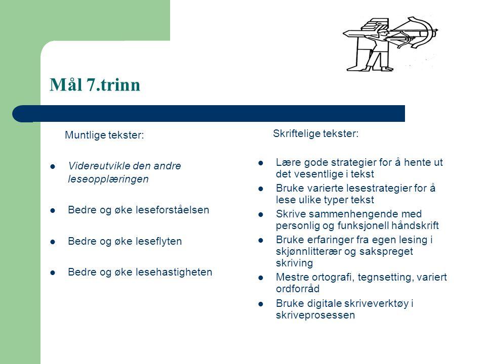 Mål 7.trinn Muntlige tekster: Videreutvikle den andre leseopplæringen Bedre og øke leseforståelsen Bedre og øke leseflyten Bedre og øke lesehastighete