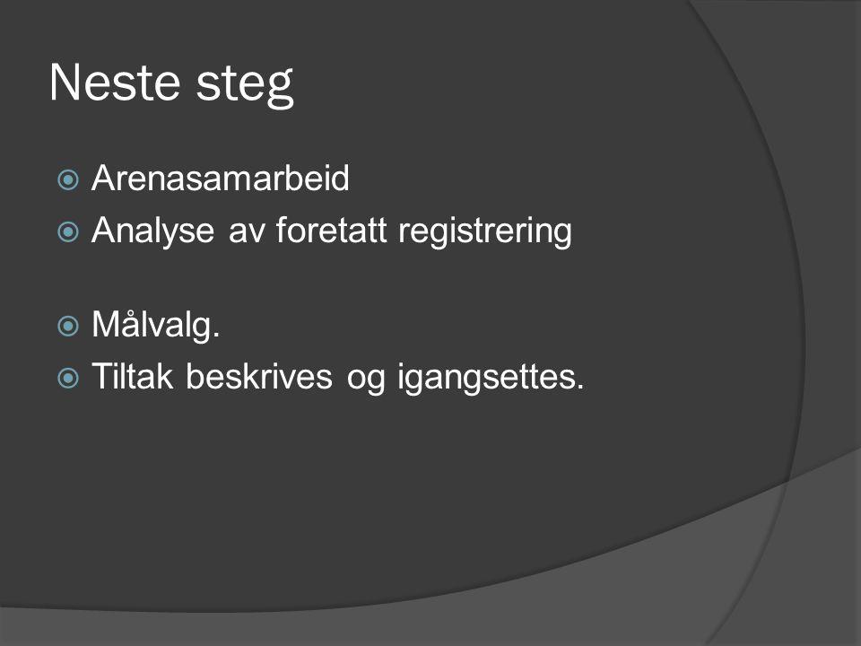 Neste steg  Arenasamarbeid  Analyse av foretatt registrering  Målvalg.