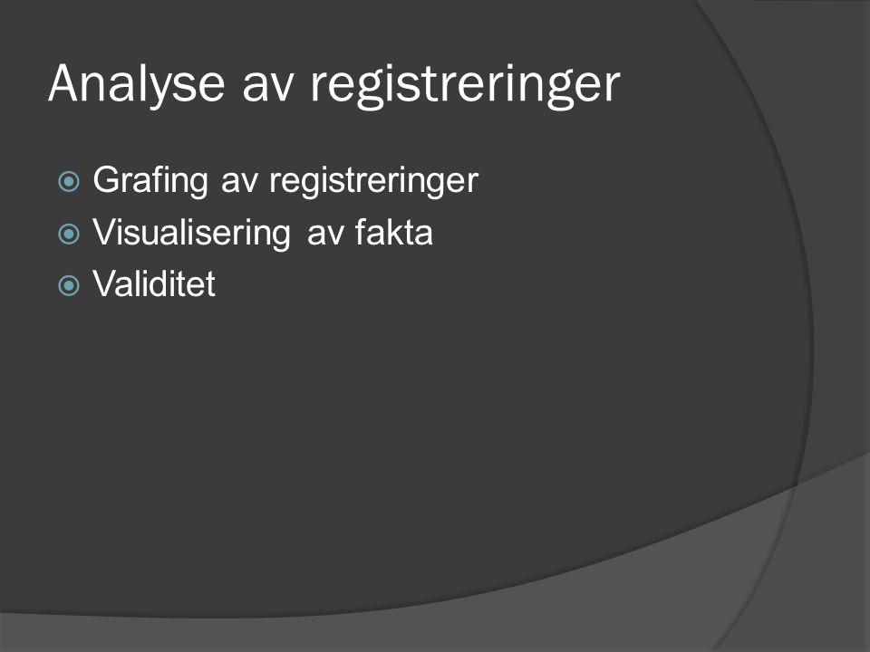 Analyse av registreringer  Grafing av registreringer  Visualisering av fakta  Validitet