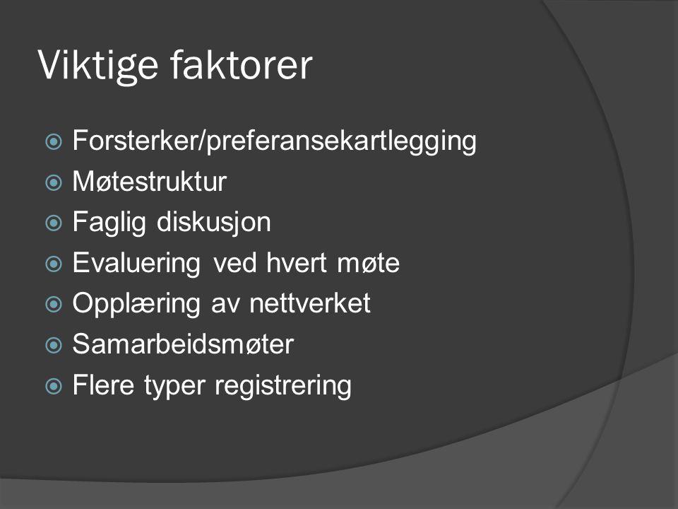 Viktige faktorer  Forsterker/preferansekartlegging  Møtestruktur  Faglig diskusjon  Evaluering ved hvert møte  Opplæring av nettverket  Samarbeidsmøter  Flere typer registrering