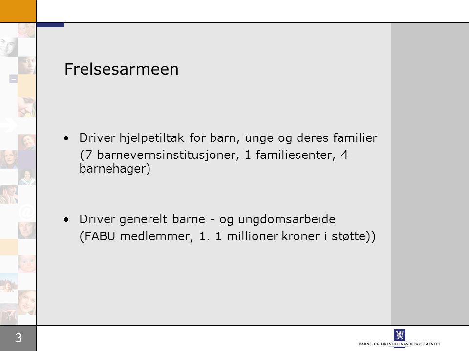 3 Frelsesarmeen Driver hjelpetiltak for barn, unge og deres familier (7 barnevernsinstitusjoner, 1 familiesenter, 4 barnehager) Driver generelt barne - og ungdomsarbeide (FABU medlemmer, 1.