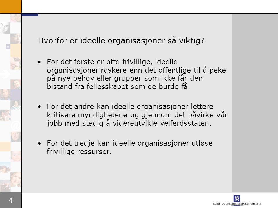 4 Hvorfor er ideelle organisasjoner så viktig? For det første er ofte frivillige, ideelle organisasjoner raskere enn det offentlige til å peke på nye