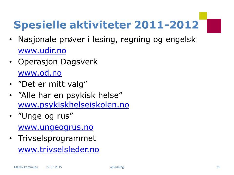 """Malvik kommune Spesielle aktiviteter 2011-2012 Nasjonale prøver i lesing, regning og engelsk www.udir.no Operasjon Dagsverk www.od.no """"Det er mitt val"""
