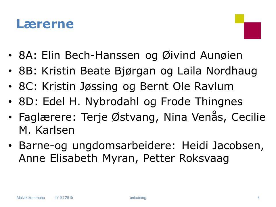 Malvik kommune Lærerne 8A: Elin Bech-Hanssen og Øivind Aunøien 8B: Kristin Beate Bjørgan og Laila Nordhaug 8C: Kristin Jøssing og Bernt Ole Ravlum 8D: