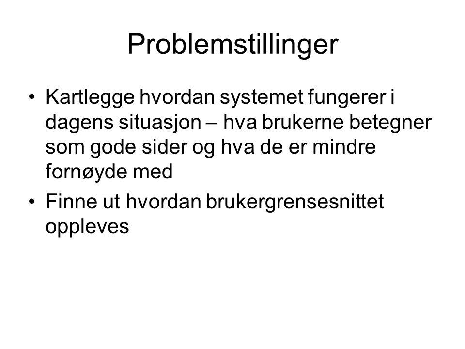 Problemstillinger Kartlegge hvordan systemet fungerer i dagens situasjon – hva brukerne betegner som gode sider og hva de er mindre fornøyde med Finne ut hvordan brukergrensesnittet oppleves