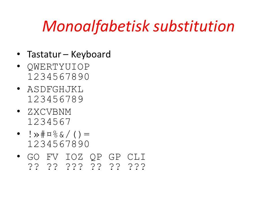 Monoalfabetisk substitution Tastatur – Keyboard QWERTYUIOP 1234567890 ASDFGHJKL 123456789 ZXCVBNM 1234567 !»#¤%&/()= 1234567890 GO FV IOZ QP GP CLI ??