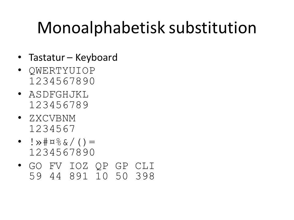 Monoalphabetisk substitution Tastatur – Keyboard QWERTYUIOP 1234567890 ASDFGHJKL 123456789 ZXCVBNM 1234567 !»#¤%&/()= 1234567890 GO FV IOZ QP GP CLI 5