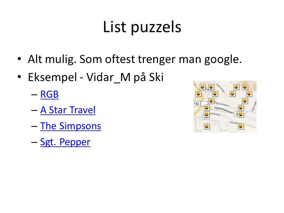 List puzzels Alt mulig. Som oftest trenger man google. Eksempel - Vidar_M på Ski – RGB RGB – A Star Travel A Star Travel – The Simpsons The Simpsons –