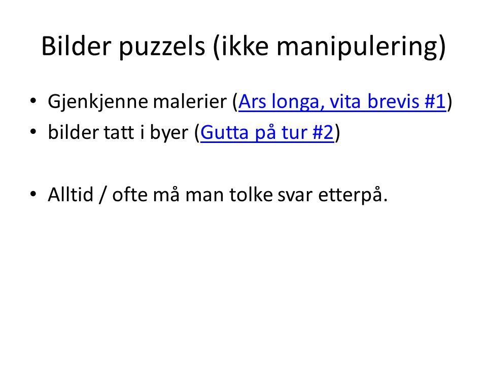 Bilder puzzels (ikke manipulering) Gjenkjenne malerier (Ars longa, vita brevis #1)Ars longa, vita brevis #1 bilder tatt i byer (Gutta på tur #2)Gutta
