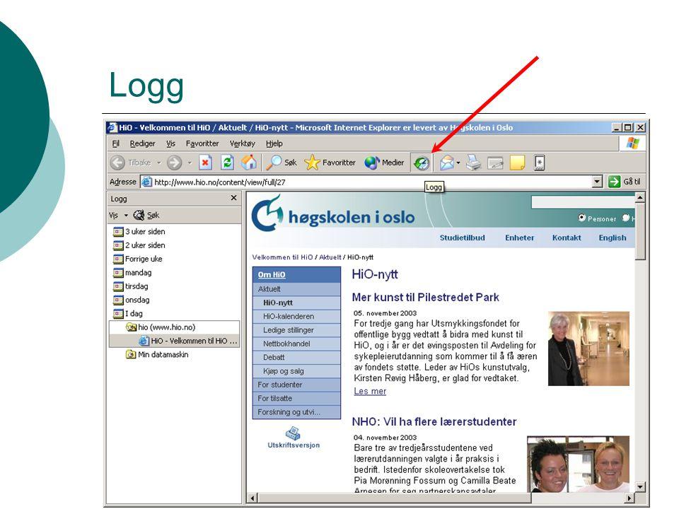 IT-seksjonen 2007 Kontroll  Logg (Explorer)/history (Firefox)  Cookies og temp-filer små filer lagt igjen av nettsteder legger seg på bestemte stede