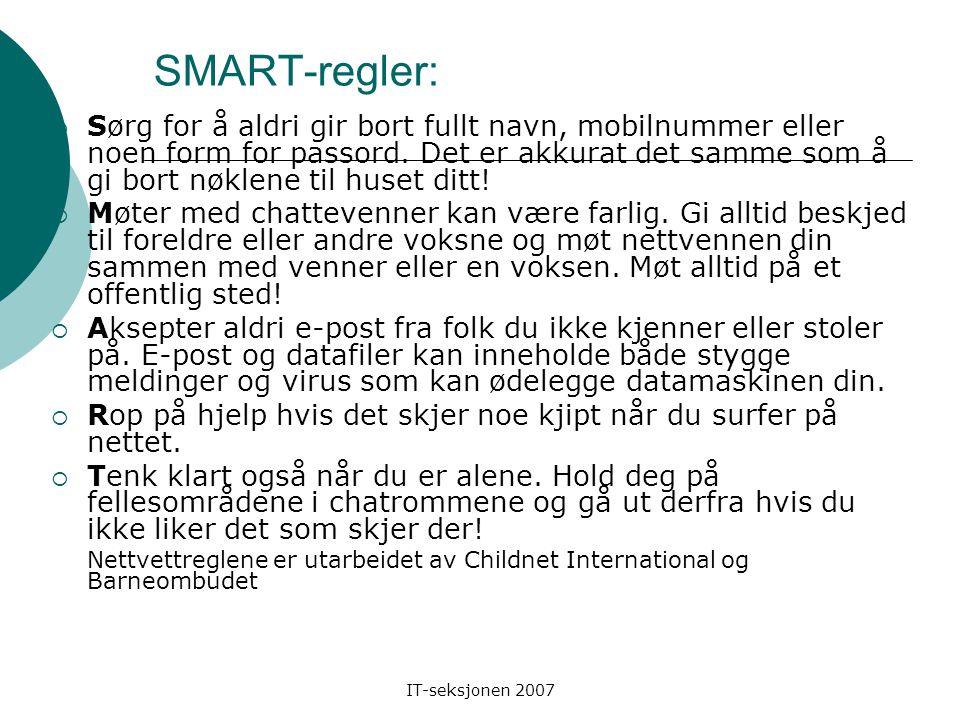 IT-seksjonen 2007 Eksempler på sider som er uegnet for barn Hvordan avsløre tvilsom/falsk informasjon på internett? Ta en titt på følgende (beryktede)
