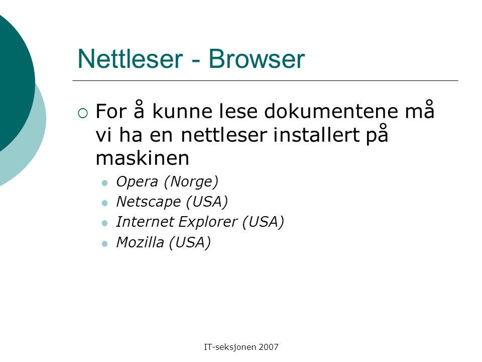 Nettleser - Browser  For å kunne lese dokumentene må vi ha en nettleser installert på maskinen Opera (Norge) Netscape (USA) Internet Explorer (USA) Mozilla (USA)