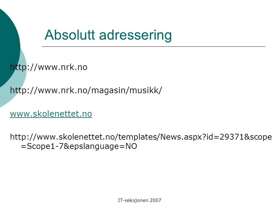IT-seksjonen 2007 Absolutt adressering http://www.nrk.no http://www.nrk.no/magasin/musikk/ www.skolenettet.no http://www.skolenettet.no/templates/News.aspx?id=29371&scope =Scope1-7&epslanguage=NO