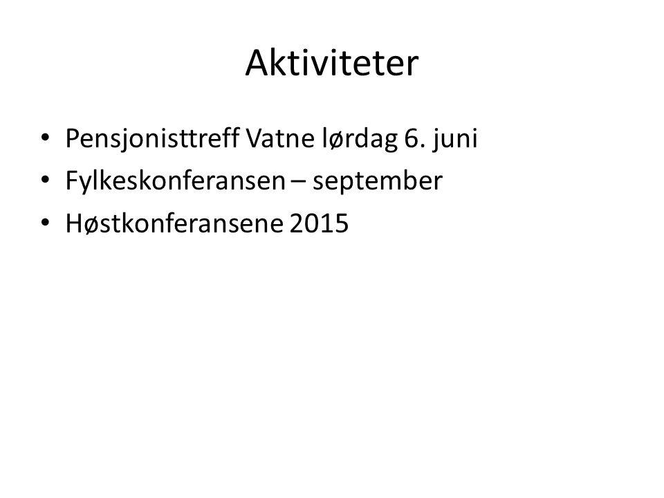 Aktiviteter Pensjonisttreff Vatne lørdag 6. juni Fylkeskonferansen – september Høstkonferansene 2015
