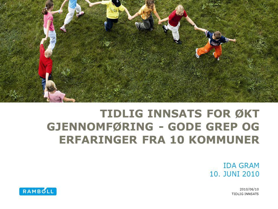 2010/06/10 TIDLIG INNSATS TIDLIG INNSATS FOR ØKT GJENNOMFØRING - GODE GREP OG ERFARINGER FRA 10 KOMMUNER IDA GRAM 10.