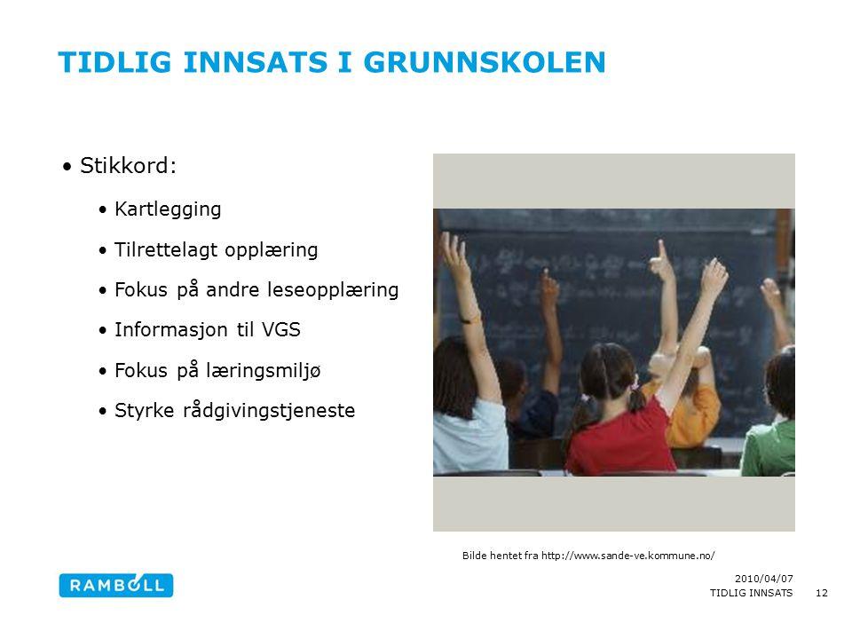2010/04/07 TIDLIG INNSATS TIDLIG INNSATS I GRUNNSKOLEN Stikkord: Kartlegging Tilrettelagt opplæring Fokus på andre leseopplæring Informasjon til VGS F