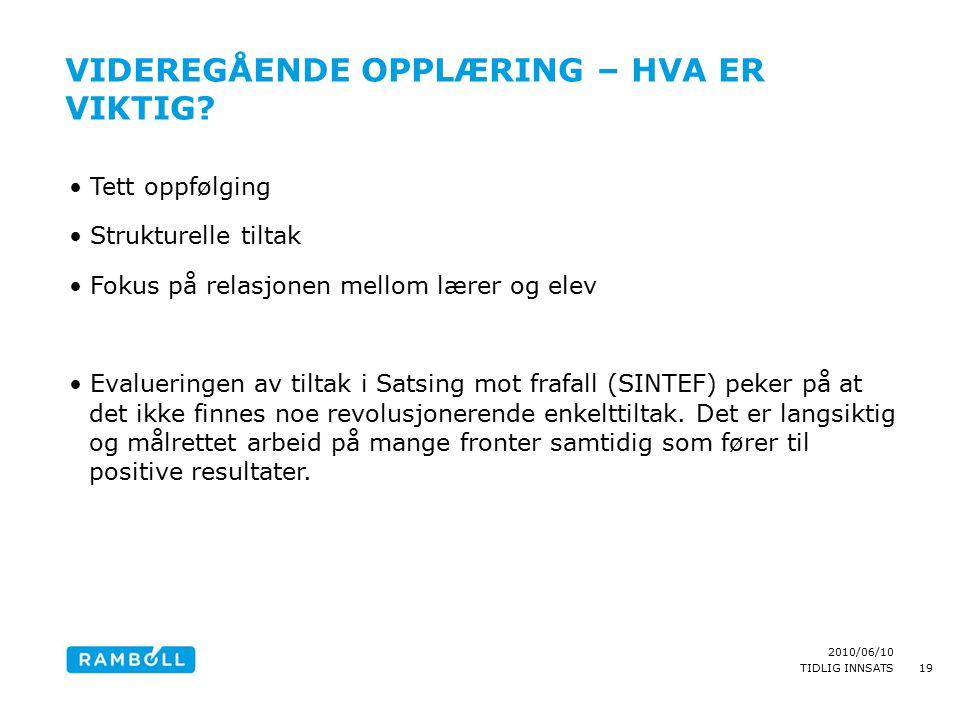 2010/06/10 TIDLIG INNSATS VIDEREGÅENDE OPPLÆRING – HVA ER VIKTIG.