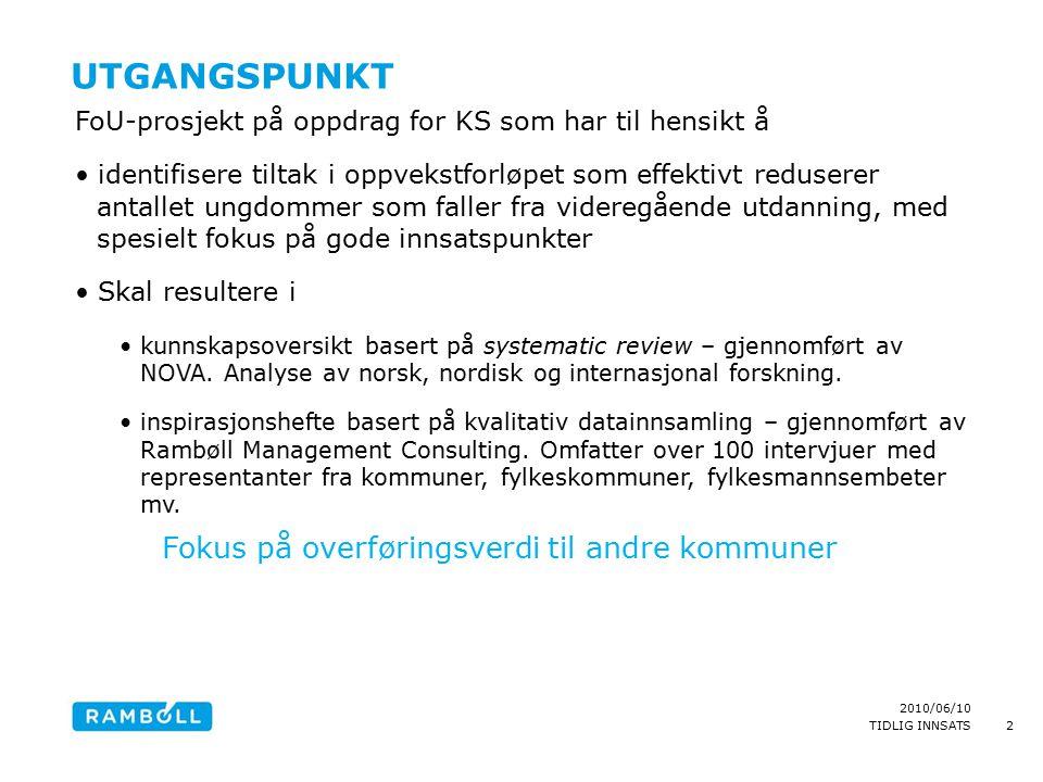 2010/06/10 TIDLIG INNSATS UTGANGSPUNKT FoU-prosjekt på oppdrag for KS som har til hensikt å identifisere tiltak i oppvekstforløpet som effektivt reduserer antallet ungdommer som faller fra videregående utdanning, med spesielt fokus på gode innsatspunkter Skal resultere i kunnskapsoversikt basert på systematic review – gjennomført av NOVA.